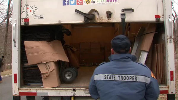 State Trooper checking moving truck