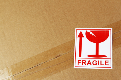 Box with fragile sticker