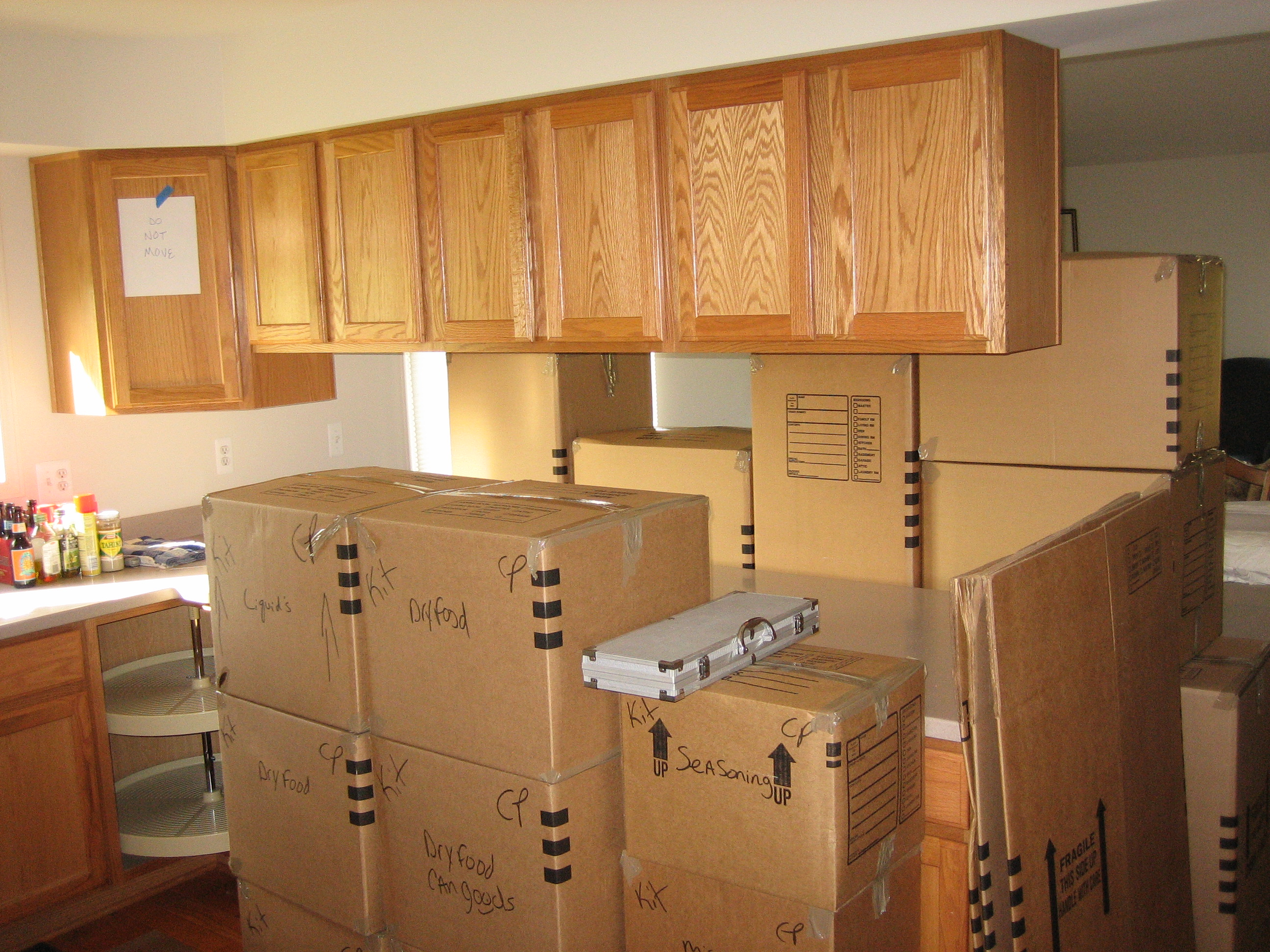 Boxes in the kitchen