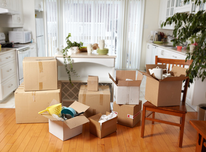 Boxes in a living room